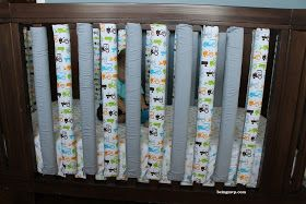 I have not used traditional crib bumpers for Mason for fear of SIDS but since he is now rolling around and trying to grab onto the ra...