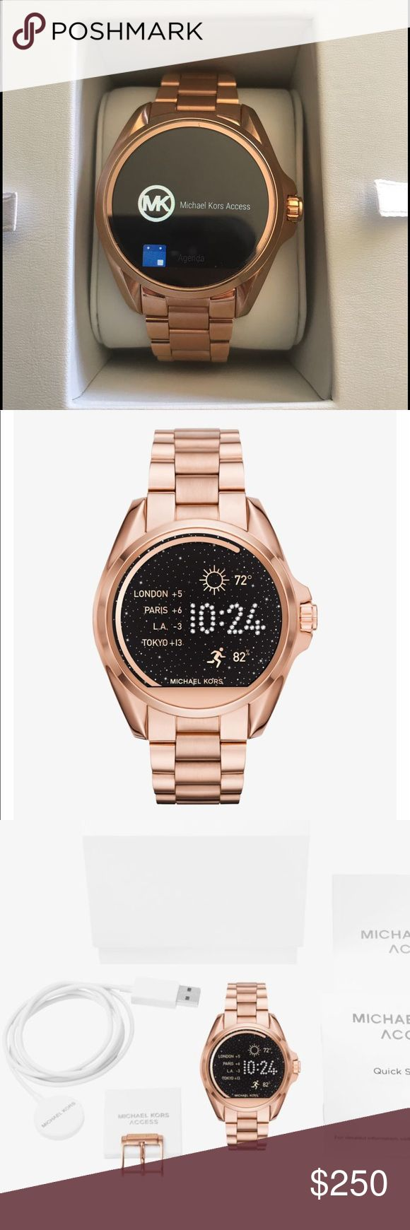 Michael Kors smartwatch The Michael Kors access Bradshaw rose-gold tone smart watch. Worn once. Includes everything from original packaging. Michael Kors Accessories Watches #michaelkors #watchmichaelkors #watches