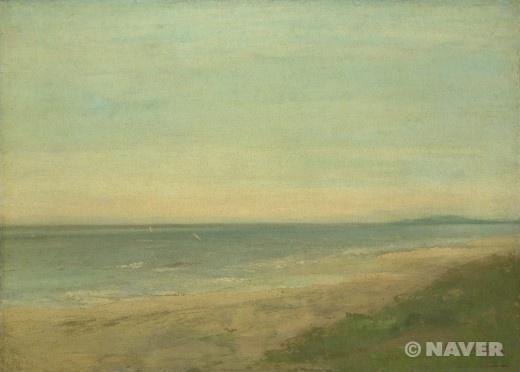 팔라바 부근의 바다 (The Sea near Palavas)  귀스타브 쿠르베(Gustave Courbet) 모사    다른 그림을 본뜬 것이나 후대 작가의 역량이 많이 발휘됨