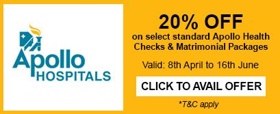 GET 20% OFF on select Apollo Hospitals' Master Health Packages http://bit.ly/MatrimonyDay  #MatrimonyDay offer!