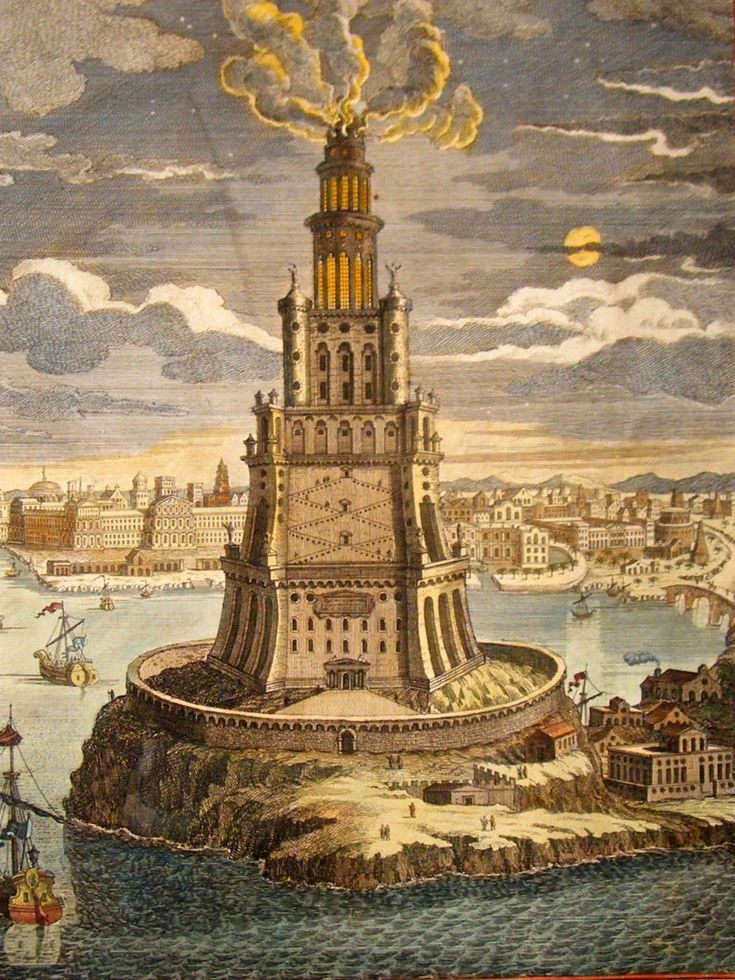 The Lighthouse of Alexandria, sometimes called the Pharos of Alexandria was a lofty tower built by the Ptolemaic Kingdom between 280 and 247 BC and between 393 and 450 ft (120 and 140 m) tall, it was one of the tallest man-made structures on Earth for many centuries, and was regarded as one of the Seven Wonders of the Ancient World. (albion-prints, 2013)