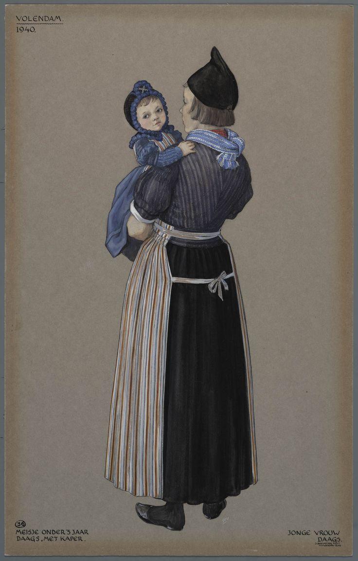 Volendam, 1940. Meisje onder 3 jaar, daags, met kaper. Jonge vrouw, daags