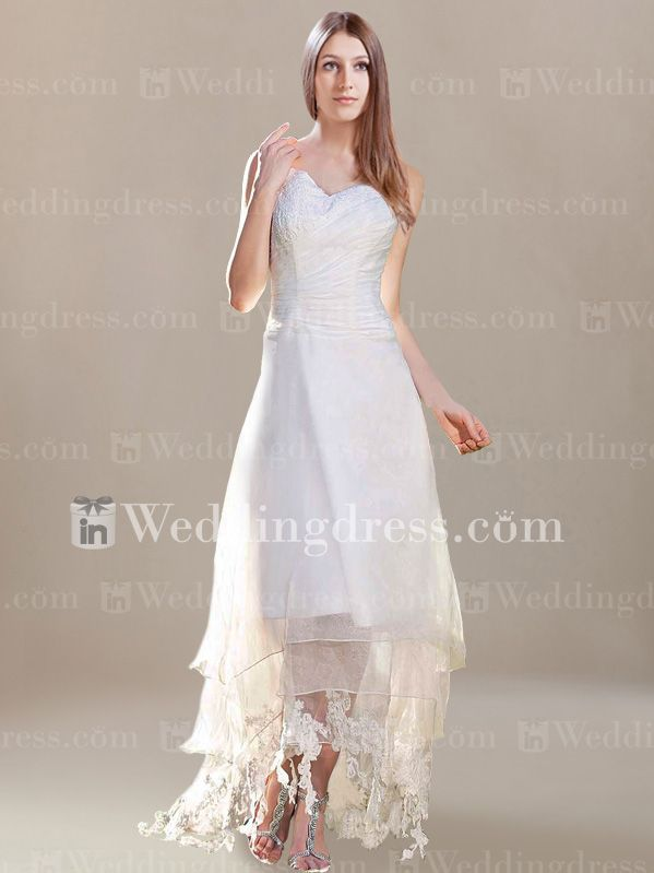 Casual A-Line V-Neck Summer Wedding Gown with Lace BC717 *I just like the bottom of this dress