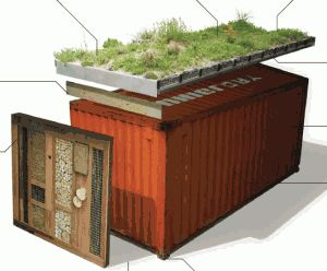 Sweet PDF on green roof + habitat wall solution for shipping containers.