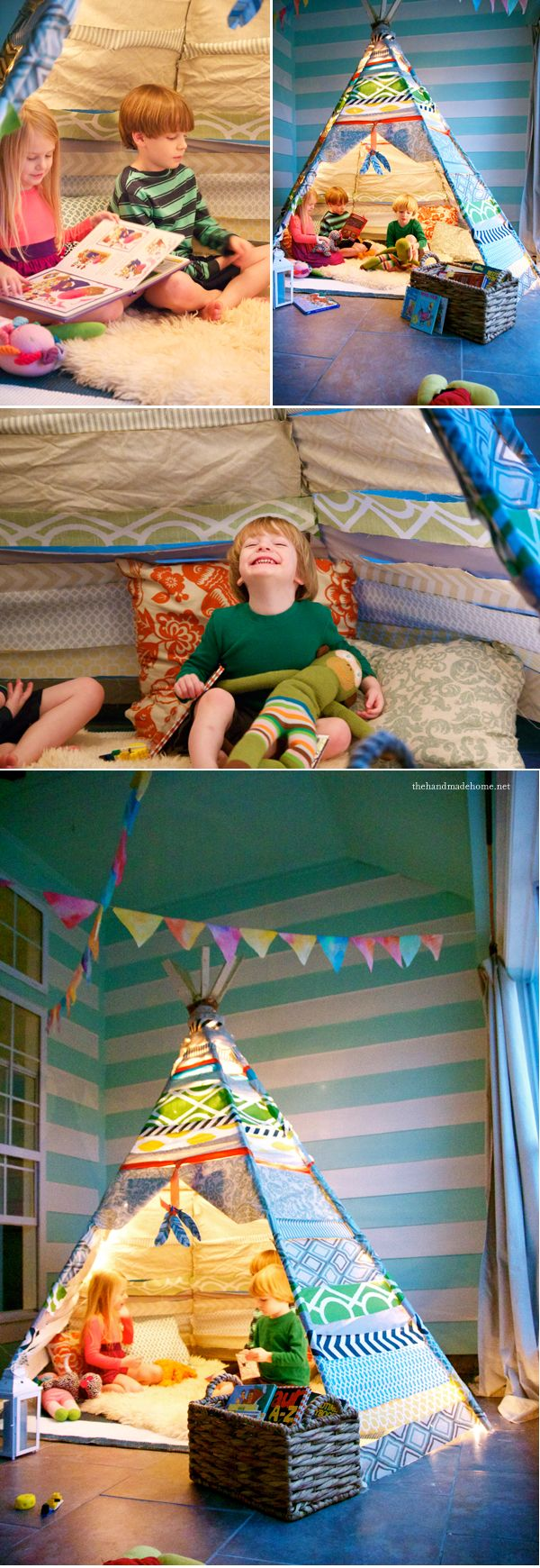 No Sew Teepee! Cute reading corner on the porch, bedroom, den or some place dry! Really.. no sew!!:http://www.thehandmadehome.net/2013/02/a-no-sew-teepee/