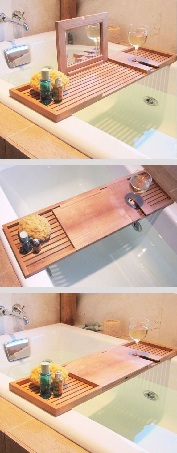 Bath Caddy // with Mirror and Wine Glass Holder  ❤︎Awesome!