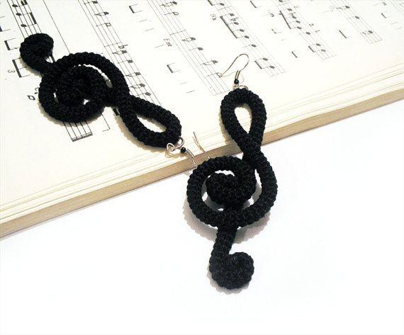 Crochet Earrings Treble Clef Note Music Theory Fiber Wrapped Black