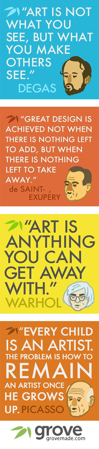 Popular quotes from famous artists. Art, design, creativity, inspiration, and more!