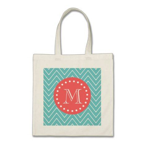 Teal and Coral Chevron with Custom Monogram Tote Bag