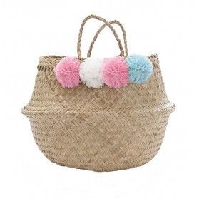 Pom Pom Basket - Pink, Blue, White