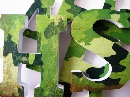 Custom Decorated Wooden Letters CAMOUFLAGE Kitchen, Dining Room, Nursery Bedroom Home Décor, Wall Decorations, Wood Personalized Camo. $20.00, via Etsy.