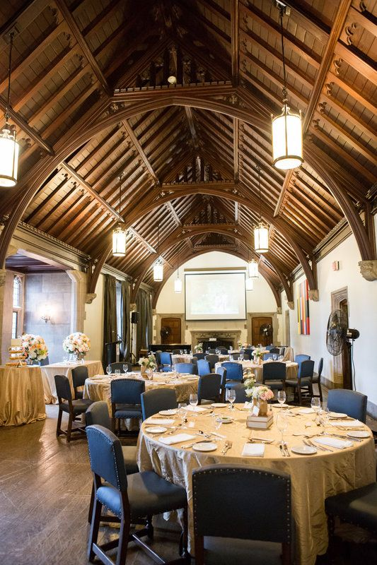 Hart House Music Room reception setup for Andrea & Josh's Wedding! Hart House Wedding, University of Toronto. #sweetheartempirephotography Photo By Sweetheart Empire