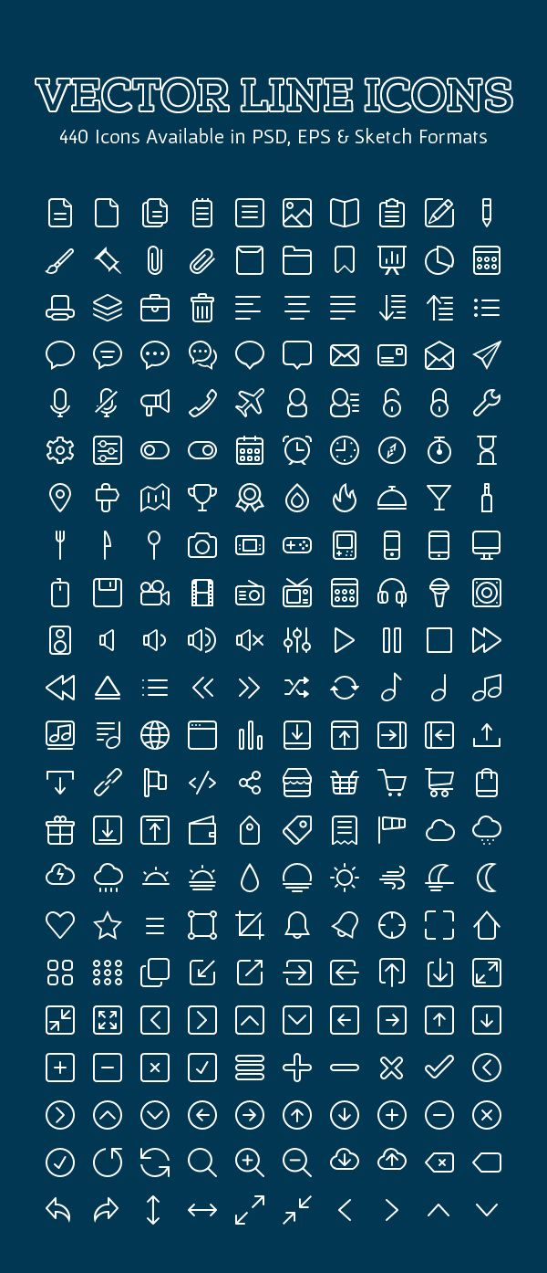 Free Vector Outline Icons Set