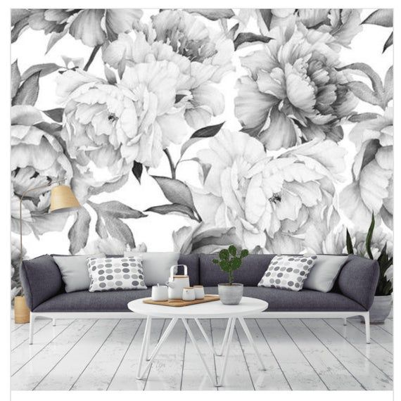 Peony Peel And Stick Floral Gray Wallpaper Peonies Wall Etsy In 2021 Grey Wallpaper Grey Floral Wallpaper Grey And White Wallpaper