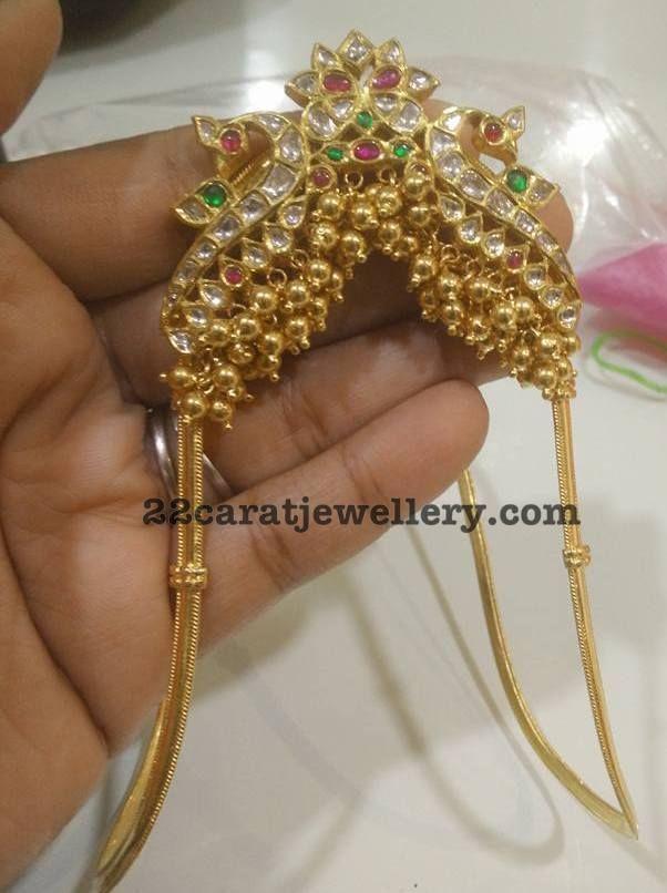 Gold Swirls Peacock Vanki - Jewellery Designs