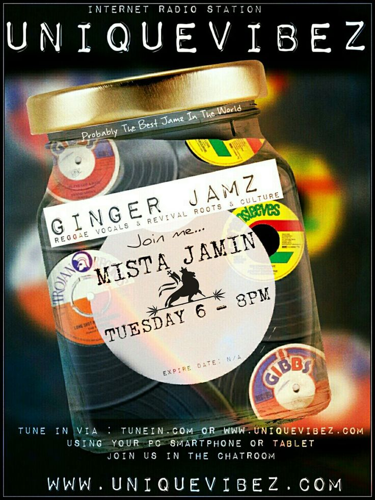 Join Mr Jamin every Tuesday 6-8pm UK time for his Ginger Jams Show playing the best in reggae, rootsmusic, dub and occasionally a touch of old skool soul
