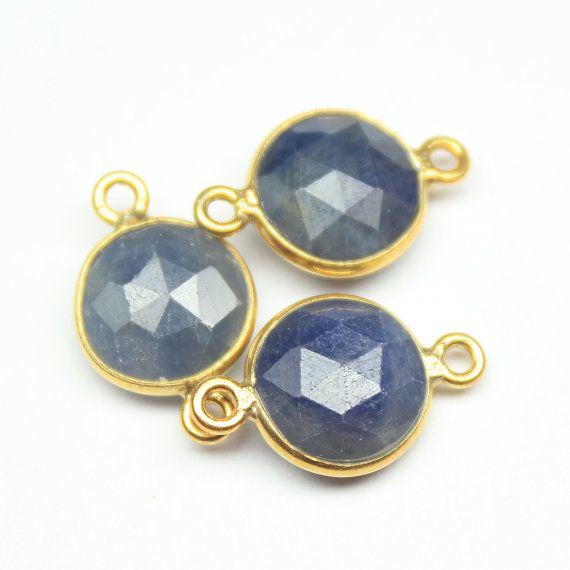 Blue Sapphire Gold Vermeil Bezel Coin Finding by jewelsexports, $19.44