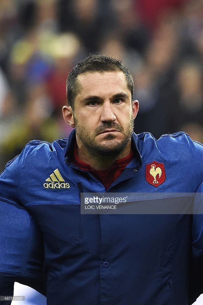 France's full-back Scott Spedding is pictured prior to the rugby union test match between France and Scotland at the Stade de France in Saint-Denis, north of Paris, on September 5, 2015.
