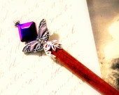 Hair stick accessories beaded accessory deep purple silver iron butterfly Victorian wood chopstick TAGT tenX
