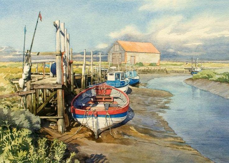 Thornham Staithe (watercolor by Brian Robinson)