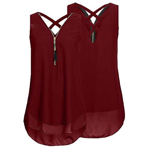 Weant Femme Camisole Été Femme Lady sans Manches V-Neck Couleur Pure  Fermeture éclair Grande Taille Vest Débardeur Tops T-Shirt Top Crop Gilet  Camisole ... 027b3ab69c18