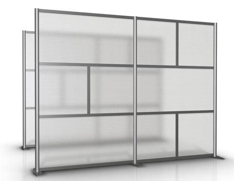 "100"" wide x 75"" high Room Divider & Office Partition, Translucent Hammered Freeze Twinwall SW10075-4 - iDivide Modern Room Dividers & Office Partitions"