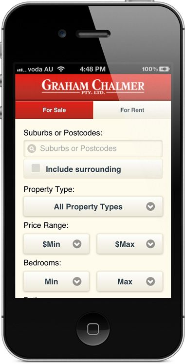 chalmer.com.au - mobile website - property search.