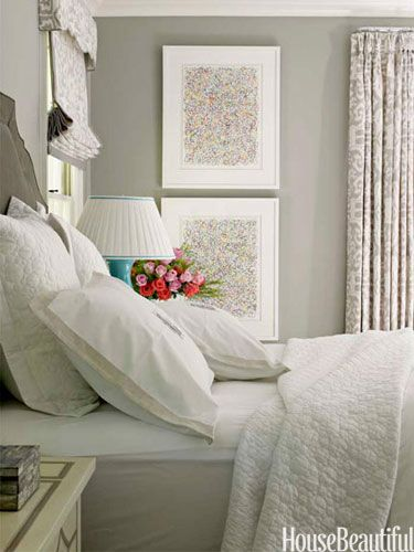 Bring in just a little color with your decor: lamp, flowers, wall art