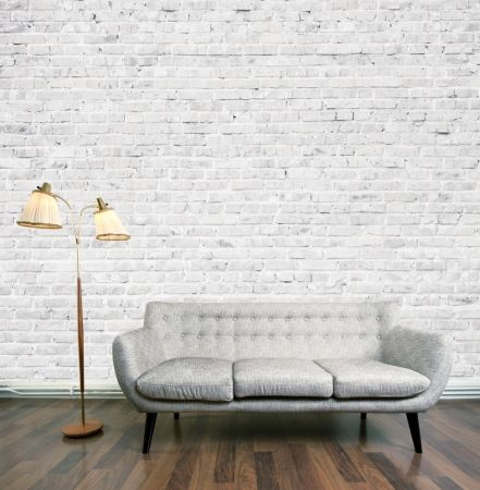 White exposed brick wall mural - hardtofind.