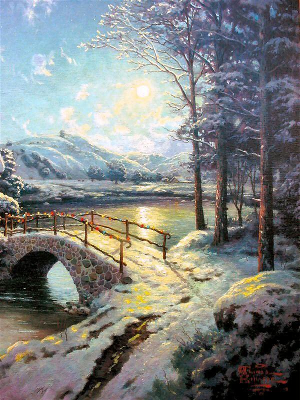 Thomas Kinkade Christmas Scenes | Christmas Moonlight 18x24 s N Limited Edition Thomas Kinkade ...