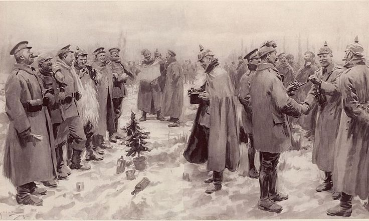 "From The Illustrated London News of January 9, 1915: ""British and German Soldiers Arm-in-Arm Exchanging Headgear: A Christmas Truce between Opposing Trenches"