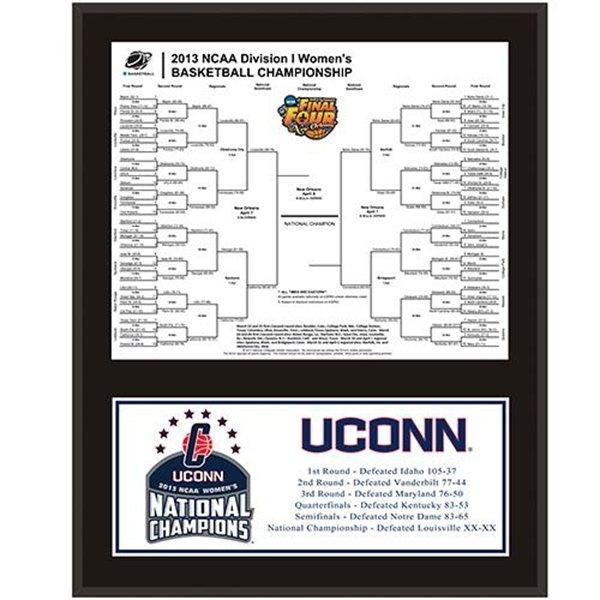 "UConn Huskies 2013 NCAA Women's Basketball National Champions 12"" x 15"" Sublimated Bracket Plaque"