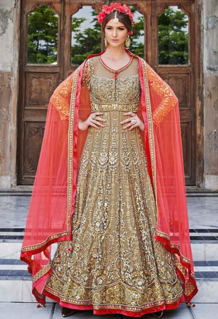 Beige Net Designer Lehenga With Embroidery Work 24001
