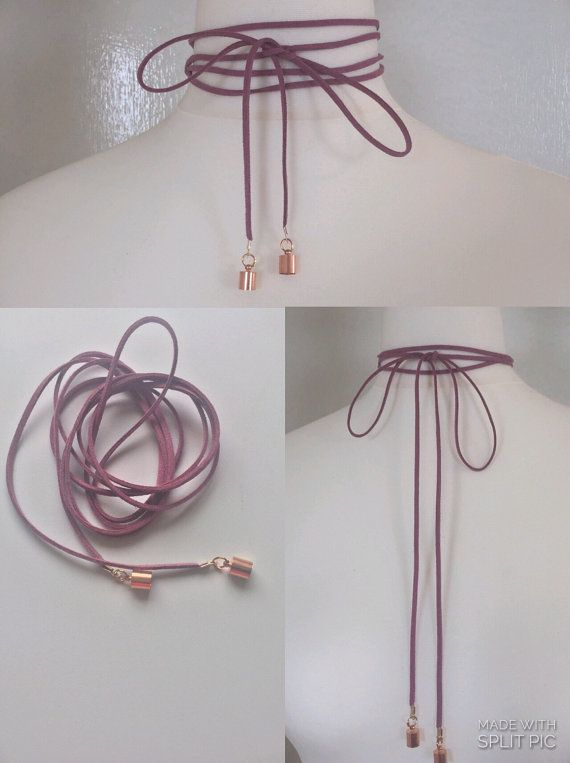 Wrap cord choker necklace suede by FashioneditStudio on Etsy