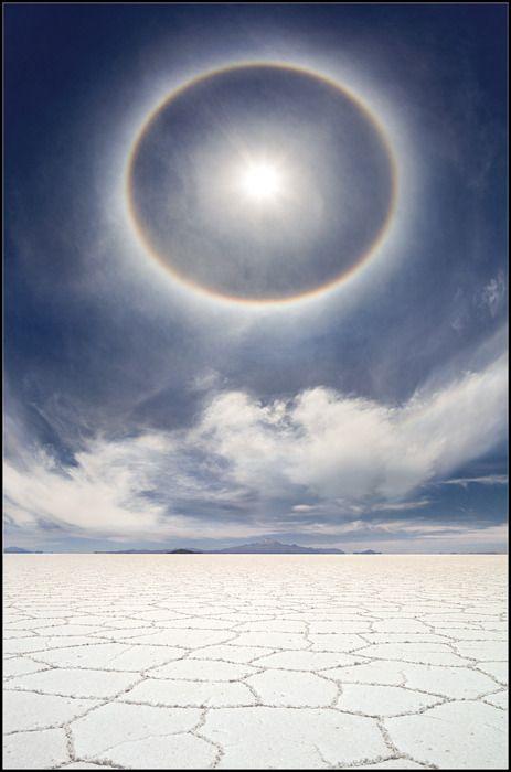~ A very rare and beautiful photo of a circular rainbow over the salt marshes of Bolivia :)  Yuri Pustovoy (c-man) Photographer           via Doug Harrington