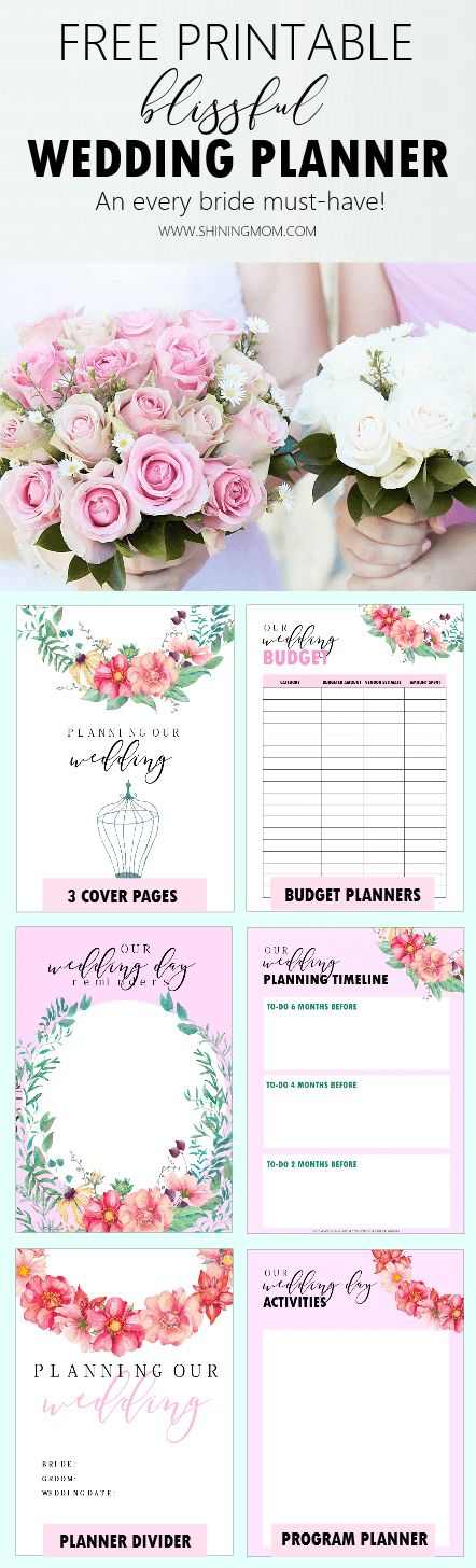 Get this free printable wedding planner and organize a blissful wedding! #wedding #weddingplanning #weddingideas