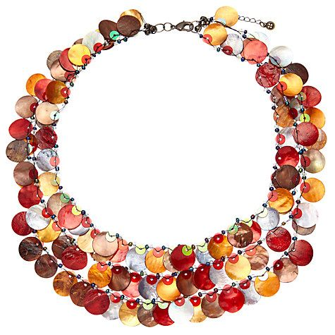 Buy One Button Medium 3 Row Layered Mother of Pearl Disc Necklace Online at johnlewis.com