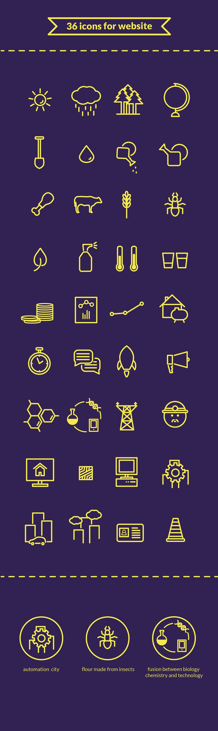 Icons for website on Behance