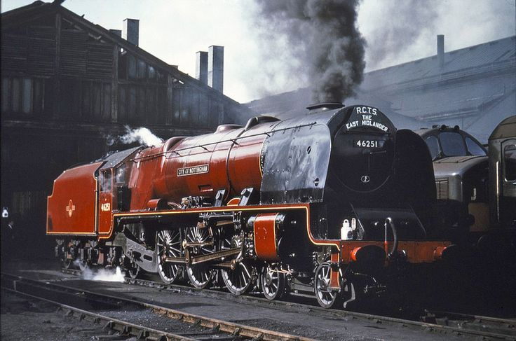 46251 'City of Nottingham' on Swindon shed 9-5-64 after bringing an RCTS special from Nottingham. Photo via Fotorus