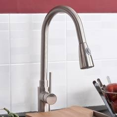 Tiffany Brushed Steel Kitchen Mixer Tap - Pull Out Spray   Bath Empire £74.99