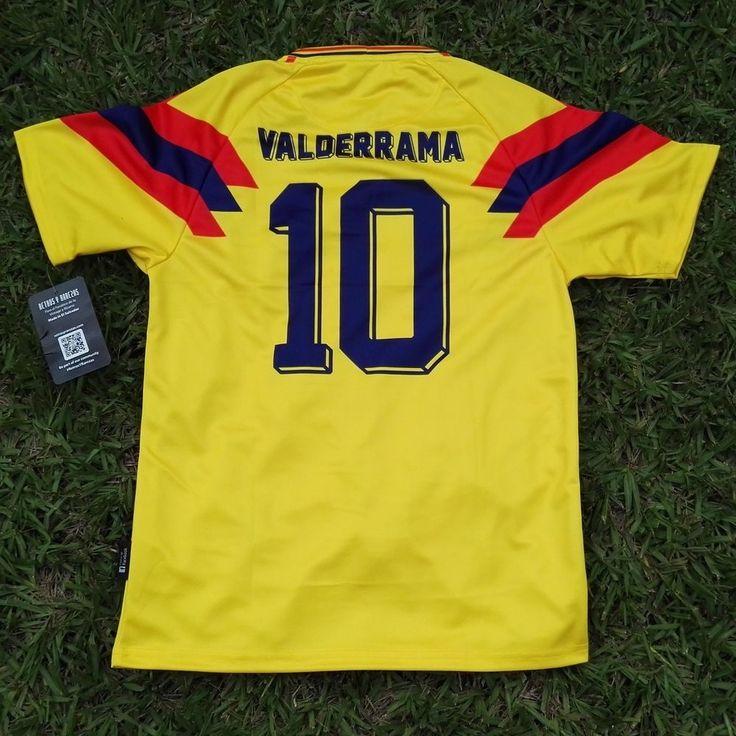 """Colombia Men's Retro Soccer Jersey, WC 1990,Valderrama #10 """"Replica"""" #RetrosyRarezas"""