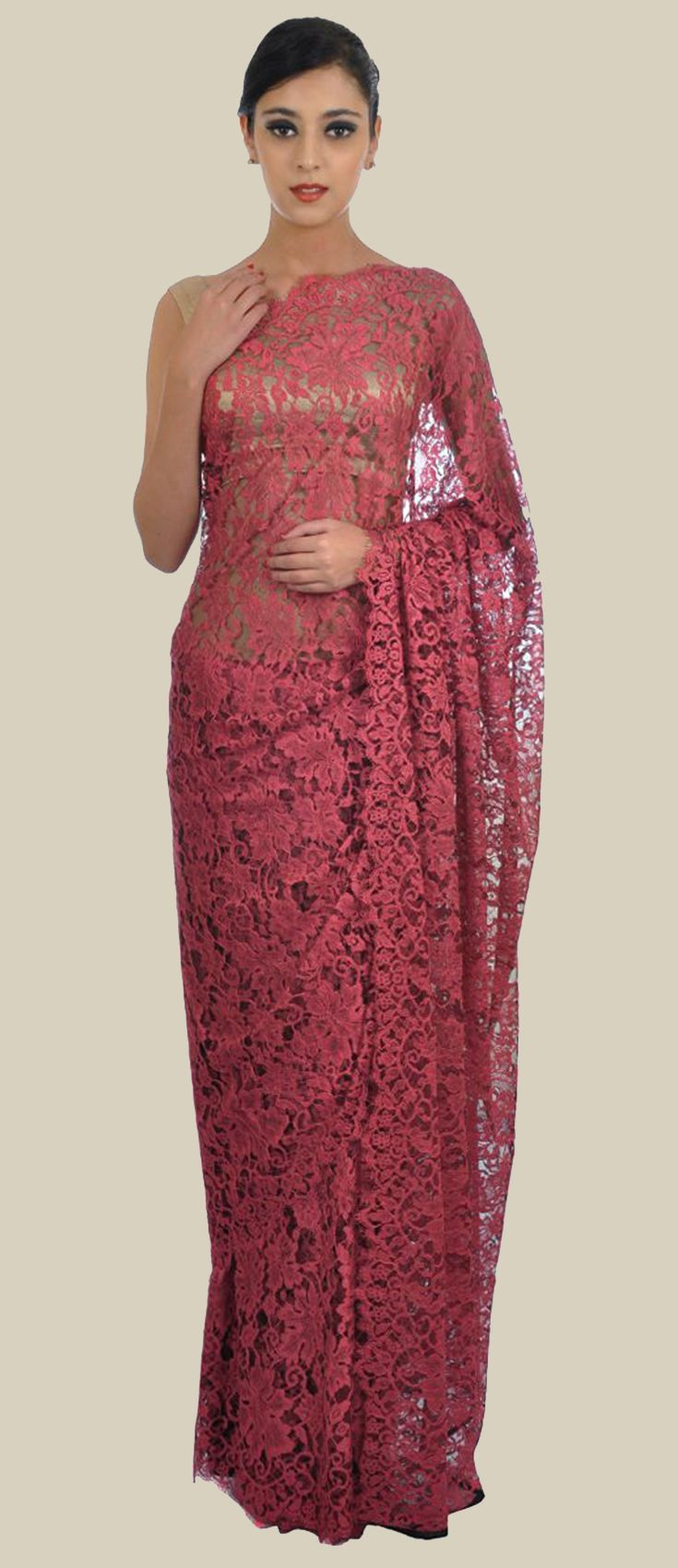 Cherry Red French Chantilly Lace Saree With Crepe-Tissue Blouse