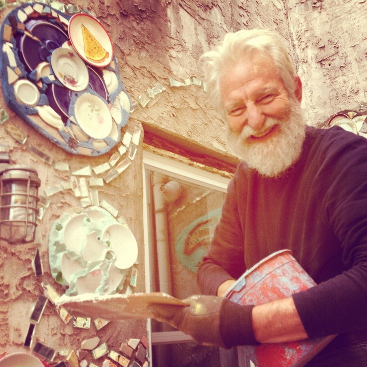 Isaiah Zagar's mirrored mosiac designs dazzle the courtyard between Pizza Brain and Little Baby's Ice Cream in Philadelphia. Have a little art with your pizza! (Photo courtesy Pizza Brain)