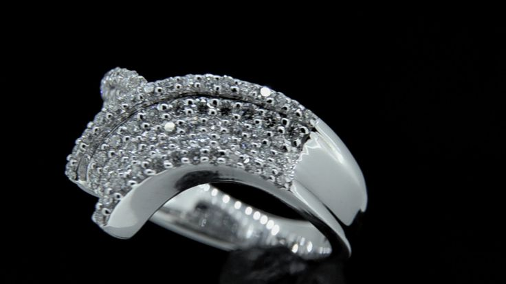 'SABINA' -- Stunning Wishbone Style Diamond Ring Pave set with Curves of Brilliant Cut Diamonds in 18ct White Gold Diamond Wt. - 1.00cts.