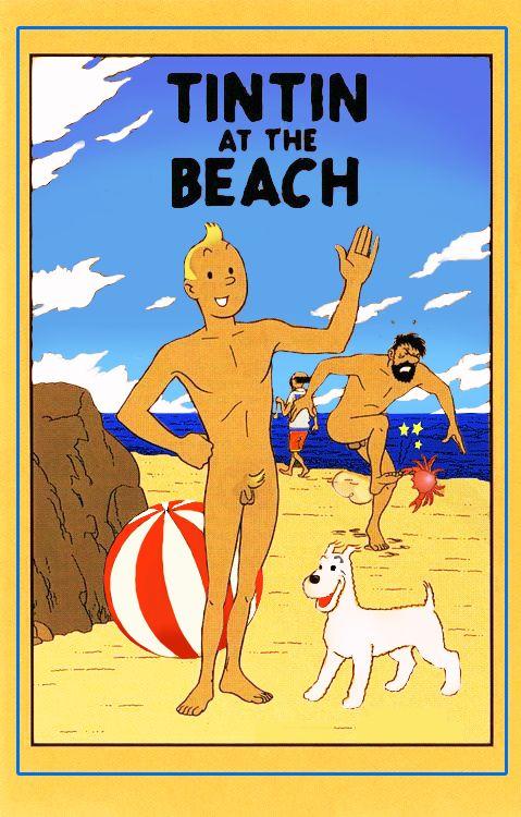 Tintin à la plage