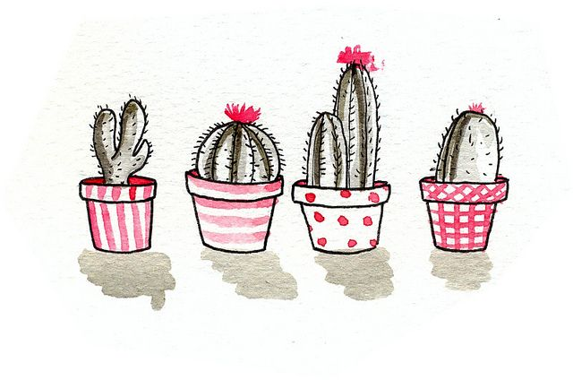 Une illustration amusante de petits cactus; ils agrémenteront très bien un cache-pot ou un vase à fleur.