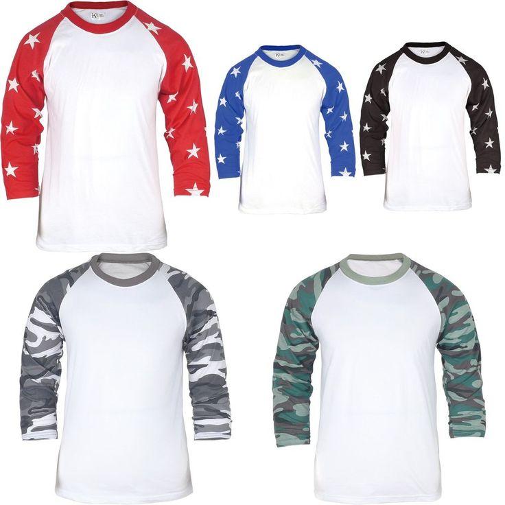 3/4 Sleeve Raglan Baseball Mens Camo Star T-Shirt Camouflage Army Sport Cotton