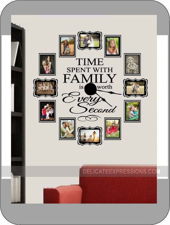 FAMILY PHOTO Wall Clock Kit, 4x6 photos, Vinyl Lettering Decal and Working Clock Kit, 5x7 photos