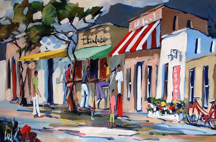 Colorful street scene just arrived