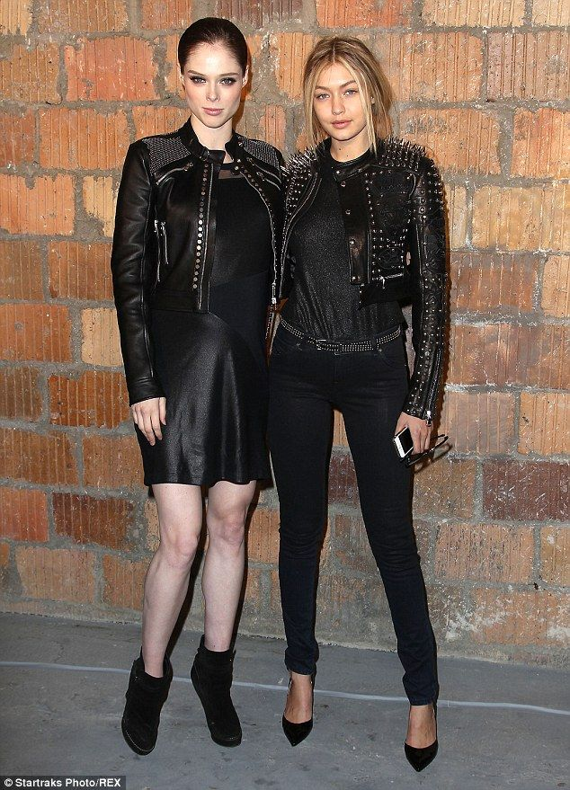 Model Coco Rocha shows off her tiny baby bump in leather skirt at NYFW